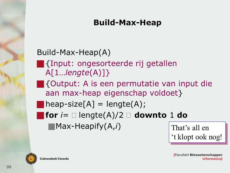 Build-Max-Heap Build-Max-Heap(A) {Input: ongesorteerde rij getallen A[1…lengte(A)]}